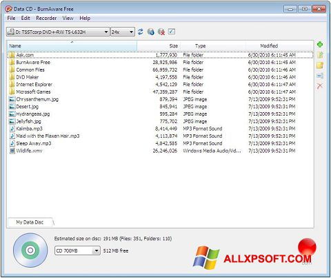 Képernyőkép BurnAware Free Windows XP