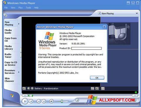 Képernyőkép Windows Media Player Windows XP