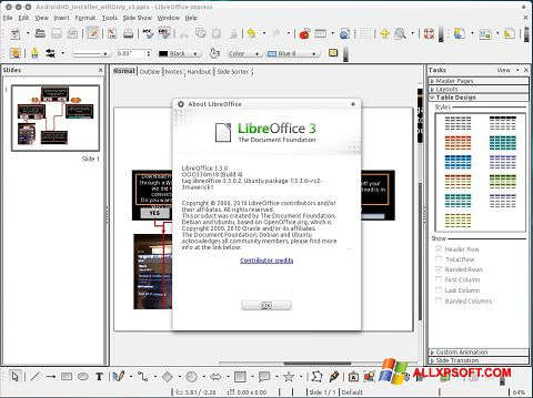 Képernyőkép LibreOffice Windows XP