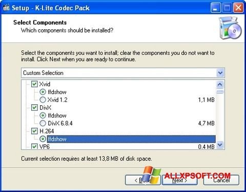 Képernyőkép K-Lite Codec Pack Windows XP