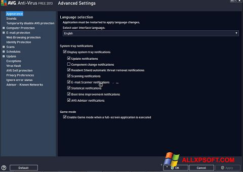 Képernyőkép AVG Windows XP