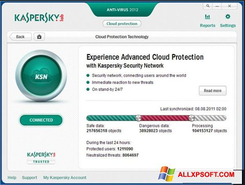 Képernyőkép Kaspersky Windows XP
