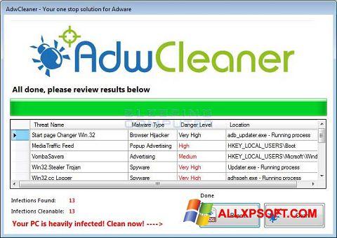 Képernyőkép AdwCleaner Windows XP