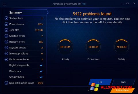 Képernyőkép Advanced SystemCare Free Windows XP