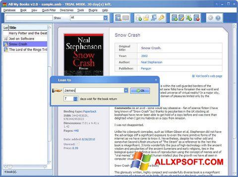Képernyőkép All My Books Windows XP