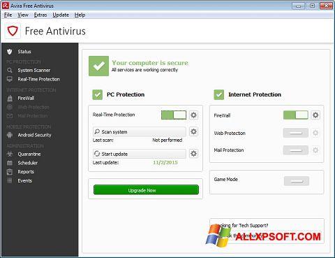 Képernyőkép Avira Free Antivirus Windows XP
