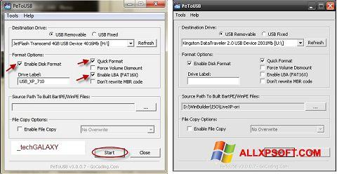 Képernyőkép PeToUSB Windows XP
