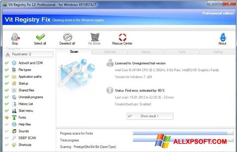 Képernyőkép Vit Registry Fix Windows XP