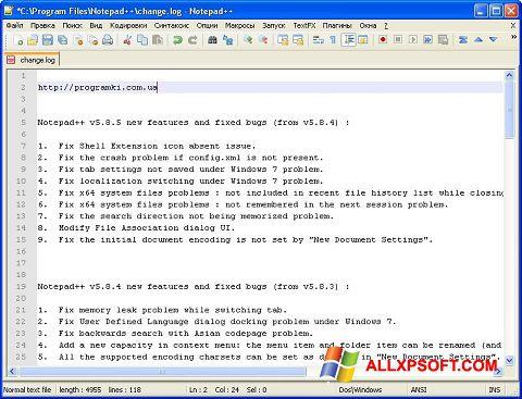 Képernyőkép Notepad++ Windows XP