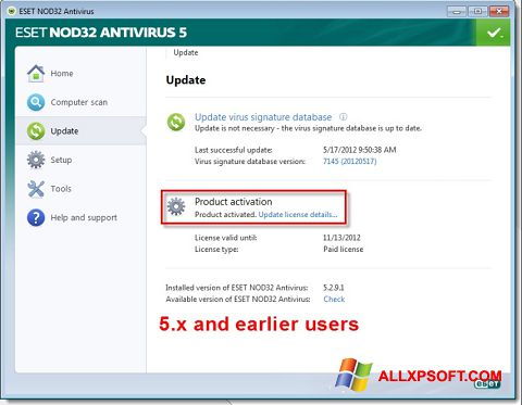 Képernyőkép ESET NOD32 Windows XP